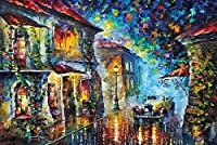 DMFNGJSD 数字油絵 フレーム付き 、数字キット塗り絵 手塗り DIY絵-ネオンナイトシティ-デジタル油絵 40x50 cm