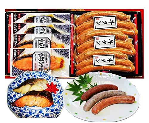 仙台名物牛たんソーセージと京都西京味噌焼魚3種7Pギフト 歯ざわりの良い牛たんソーセージとレンジで簡単西京焼魚を組み合わせました。