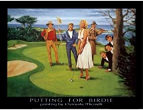 Putting for Birdie by Clemente Micarelli 32x24 Art Print Poster Vintage Marilyn Monroe James Dean Humphrey Bogart John Wayne and The Three Stooges on a Golf Course