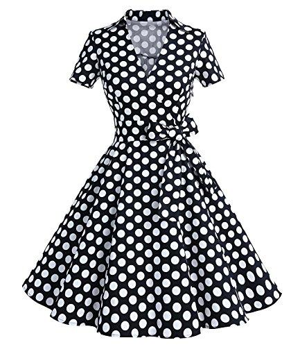 Gonna Vintage Anni 50 60 Audrey Hepburn Vestiti da Cocktail da Donna Elegante di Cotone Manica Corta Black Dots 2XL