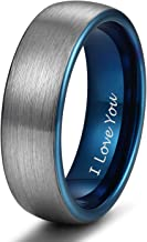 Shuremaster 4mm 6mm 8mm Tungsten Rings for Men Women Engagement Wedding Band Blue/Silver Comfort Fit Size 4-15