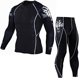 Men's Sports Suit Tights, Long-Sleeved Sports Men's Fitness T-Shirt, Quick-Drying Super Elastic Suit,Lightweight, Comforta...