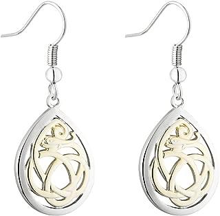 Celtic Dangle Earrings Two Tone