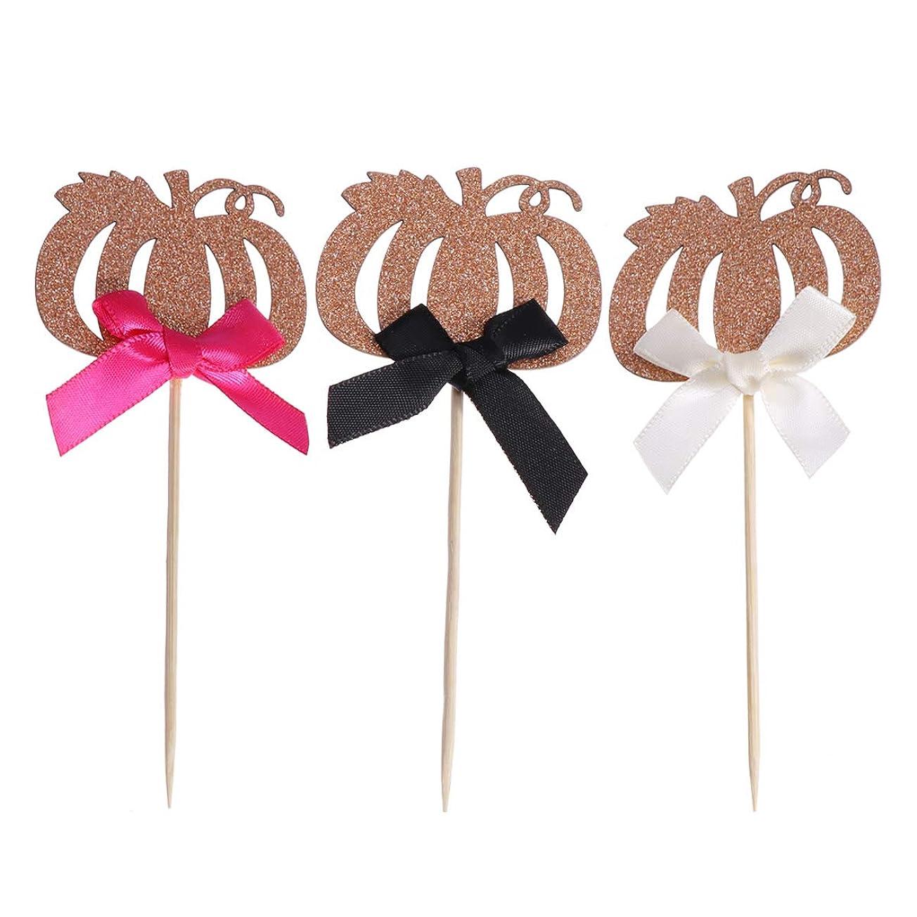 簿記係性能座るちょう結びキラキラカップケーキピックカップケーキの装飾パーティー用品のための12ピースかわいいカボチャケーキトッパー