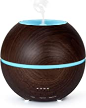 MIU COLOR 300ml Aromatherapy Essential Oil Diffuser, Ultrasonic Cool Mist Humidifier, 4Timer Settings, 2 Misting Modes, 7-Color LED Light and Waterless Auto Shut-Off, Dark Wood Grain