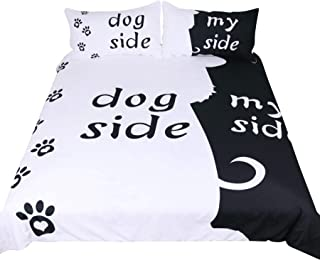 RheaChoice Dog Side My Side 3 Piece Microfiber Duvet Cover Set Funny Pet Topic Bedding Set King Size - Includes 1 Duvet Cover 2 Pillowcases Ultra Soft