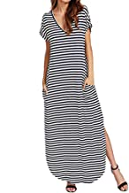 Women's V Neck Side Pockets Split Hem Beach Long Maxi Dress Casual Party Stripes Sundress