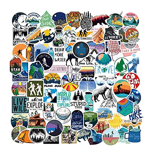 Outdoor Hiking Adventure Camping Stickers Pack 107pcs, Waterproof Vinyl Travel Wildlife Stickers for Water Bottle Laptop Hydroflask Cup Car, Wilderness Nature Decals for Camper Boys Adults Teens Girls