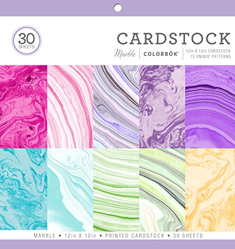 Colorbok 71876B Cardstock Paper Pad Marble, 12' x 12'