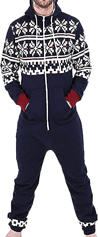 bedruckt Herren Einteiliger Schlafanzug ohne Fu/ß Unisex Spielanzug Einteiler mit Kapuze