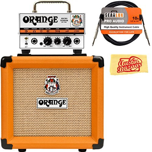 Orange PPC108 1x8-Inch Closed-Back Speaker Cabinet Bundle with Orange MT20 Micro Terror Amp Head, Instrument Cable, and Austin Bazaar Polishing Cloth