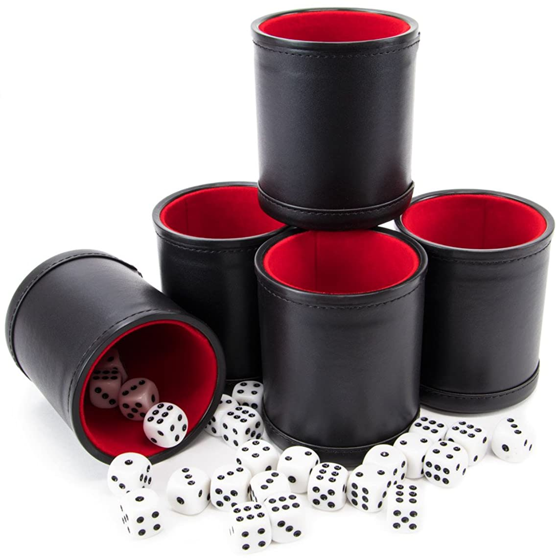 Brybelly Bundle of 5 Professional Dice Cups – Red Felt-Lined, Quality Bicast Leather, Includes 25 White Six-Sided Dice