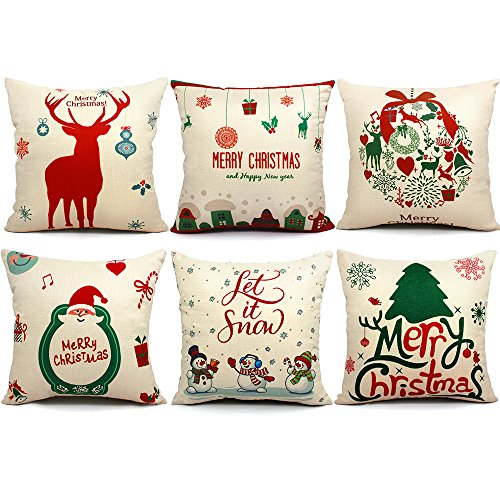 ORWINE 6 Packs Christmas Pillows Covers 18 X 18 Christmas Decorations Pillows Covers Christmas Decorative Throw Pillow Case Sofa Indoor Outdoor Home Décor for Thanksgiving Day Party Supplies