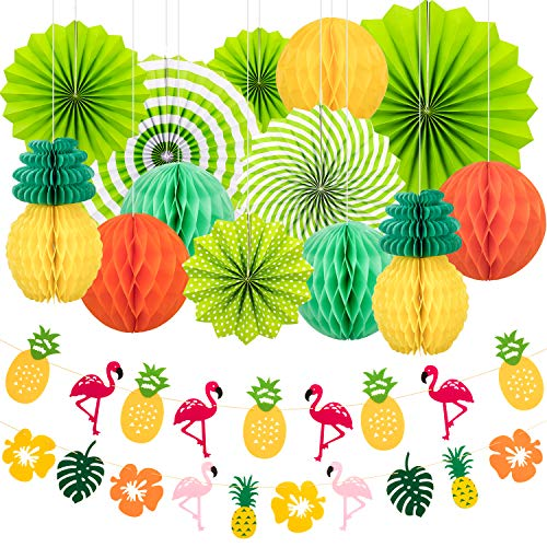 Whaline Summer Party Decoration Set Hanging Paper Fans Pineapple and Flamingo Flower Garland Banner for Hawaiian Luau Beach Birthday Wedding Photo Backdrop