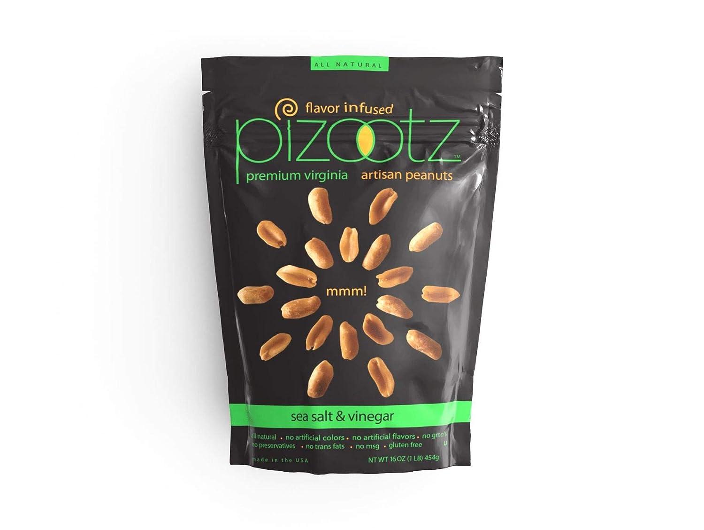 PIZOOTZ Sea Salt and Vinegar Infused Peanuts Fashionable Premium Large discharge sale Vir Flavor