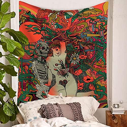 DSman Tapiz, decoración de Dormitorio, Alfombrilla para Yoga, Toalla para Playa, Toalla de Playa para Colgar en la Pared Femenina Acuarela Impresa