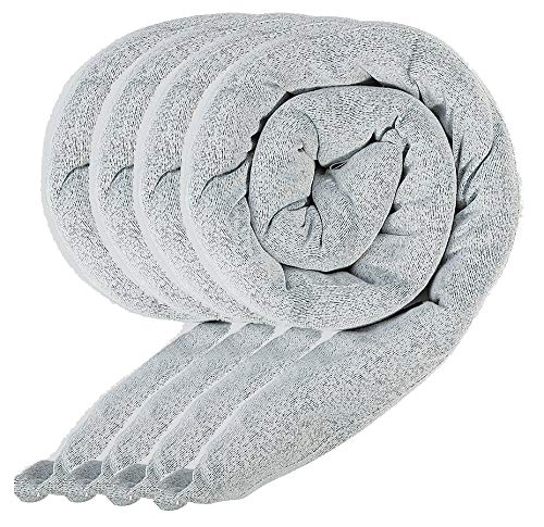 Reusable Water Absorbing Moisture Snake by New Pig | Washable 100% Polyester Fabric | 4-Pack | Heather Grey | Each Sock Absorbs ¼ Gallon Water