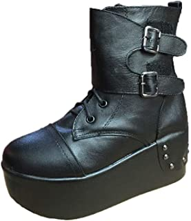 960721891a0f4a Black Sugar botte bottine chaussure DERBIES FEMME CUIR VERITABLE compensées  talon creepers solide lourd lacet punk