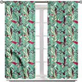 YUAZHOQI Birds Window Curtain for Bedroom, Wildflowers and Leaves Doodle, Set of 2 Panels 72 Inches Long Noise Reducing Blackout Curtains for Bedroom