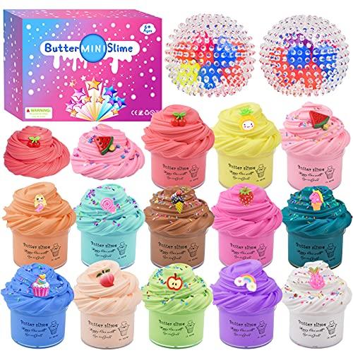 Fai da Te Fluffy Slime Kit –Confezione da 15 Butter Slime Kit, con 2 palline antistress, unicorno e accessori per la Slime di frutta, 13 Colori di Argilla, Slime giocattoli per per Ragazze Ragazzi