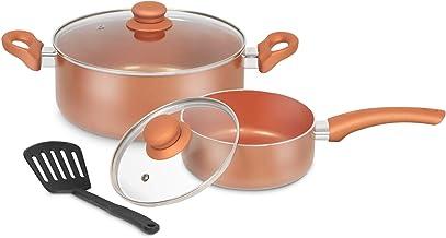 5PCS Nonstick Pots, Pans and Spatula - LINKLIFE Non-stick Frying Pan sets, Ceramic Coating Stockpot, Cooking Pot, Copper A...