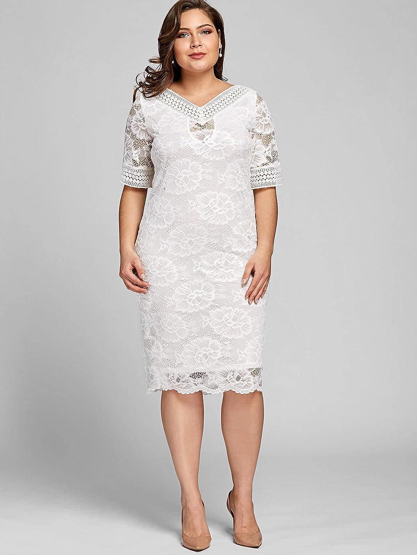 Women's Sexy Lace Flower Short Sleeve Dress Plus Size Bodycon Wrap Cocktail Lace Dress