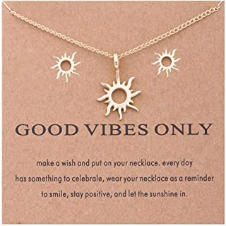 Women Love Sun Earrings Necklace Set Gold Clavicle Chain Necklace Costume Jewelry