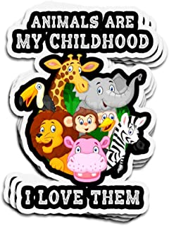 3 PCs Stickers Animals are My Childhood I Love Them 4 × 3 Inch Die-Cut Decals