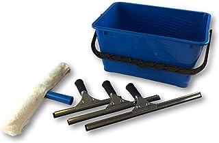Ensemble lave vitres pro | Seau plastique 13 litres | Mouilleur nettoyeur démontable | 3 raclettes inox 25-35-45 cm lèvre ...