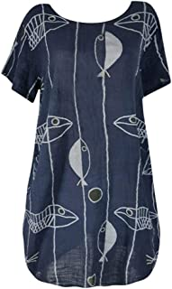cutemom Women's T-shirt Fashion Women Large size Loose Round Neck Short Sleeve Blouse Retro Fish Print Tops Sexy Elegant Vintage Top Casual Shirt Fit Comfy Tunic