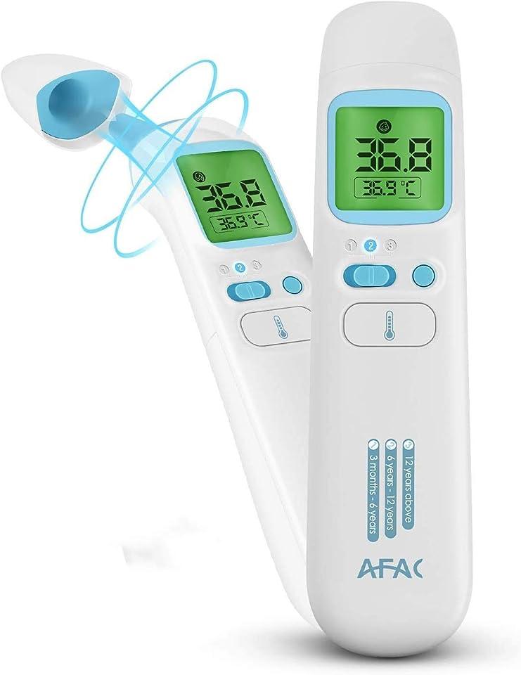 AFAC Fieberthermometer Digital Kontaktlos für Erwachsene Baby mit Magnetabdeckung, 4 in 1 Stirn Ohr Objekt Raum, 4 Farben Bildschirmanzeige, 40 Daten Speicherfunktion, Hochtemperaturalarm