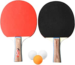 Honeytecs Table Tennis 2 Player Set 2 Table Tennis Bats Rackets Holiday with 3 Ping Pong Balls for School Home
