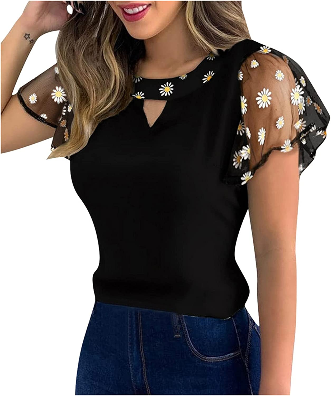 Womens Summer Tops Women Casual Daisy Embroidery Lace Lotu Sleeve Hollow Out T-Shirt Tops Womens Tops Black