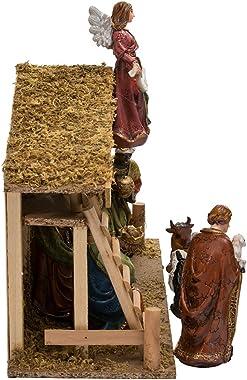 Kurt Adler 12-Piece Nativity Set with Wooden Stable