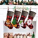 """4-Pack 18"""" Alkey Big Xmas Burlap Stocking Style"""