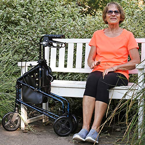 Carex 3 Wheel Walker for Seniors, Foldable, Rollator Walker with Three Wheels, Height Adjustable Handles