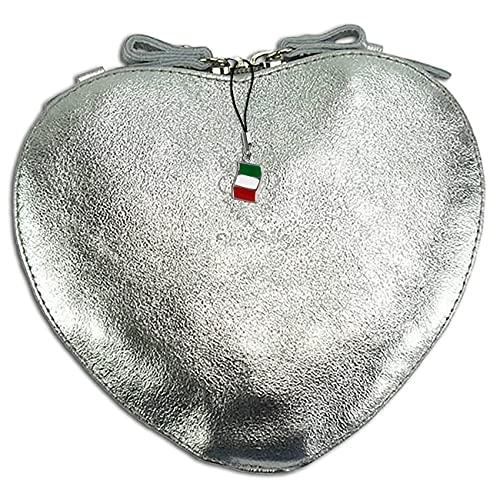 Florence OTF121J - Bolso de piel para mujer, diseño de corazón, color plateado