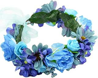 Vivivalue Adjustable Flower Headband Floral Garland Crown Halo Headpiece Boho with Ribbon Wedding Festival Party