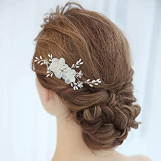 SWEETV Ivory Bridal Flower Hair Comb Wedding Rhinestone Side Comb Hair Accessories Hairpiece Head Pieces for Women