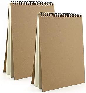 VEESUN Carnet Dessin A4, 2pcs Cahier Dessin Reliure Spirale avec Couverture Rigide Carnet Croquis Papier Materiel Dessin A...