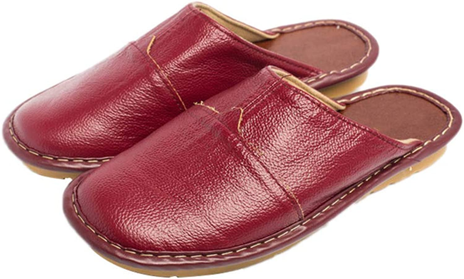Ladies Slippers Winter Autumn Genuine Leather Home Indoor Non-Slip Thermal shoes Bedroom Casual Flats