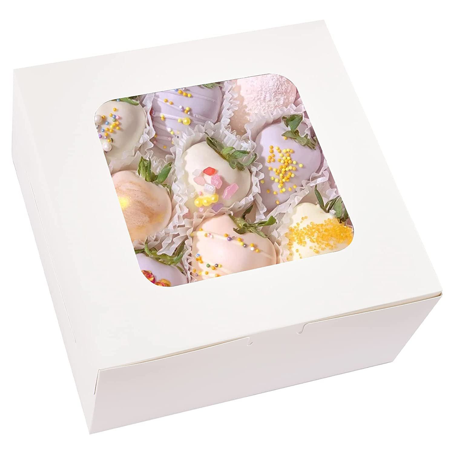 Kucoele 15pcs 10x10x5 Inches Cake Boxes mart Window service Paper with White