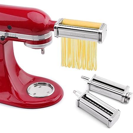 aikeec Rouleau de pâtes et accessoire de coupe Ensemble 3 en 1 pour batteurs sur socle Kitchen Aid, 5KSMPRA Set Composé Machine à Pâtes et Deux Rouleaux Découpeurs pour Robot Pâtissier
