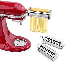 aikeec Rouleau de pâtes et accessoire de coupe Ensemble 3 en 1 pour batteurs sur socle Kitchen Aid, 5KSMPRA Set Composé Ma...