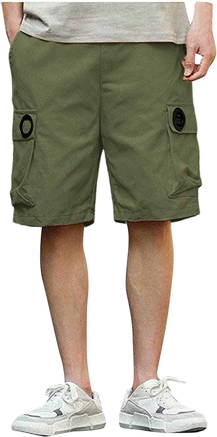 YANG-YI Men's Cargo Shorts Summer Plus Size Solid Color Bottoms Basic Leisure Sports Short Pants with Pockets