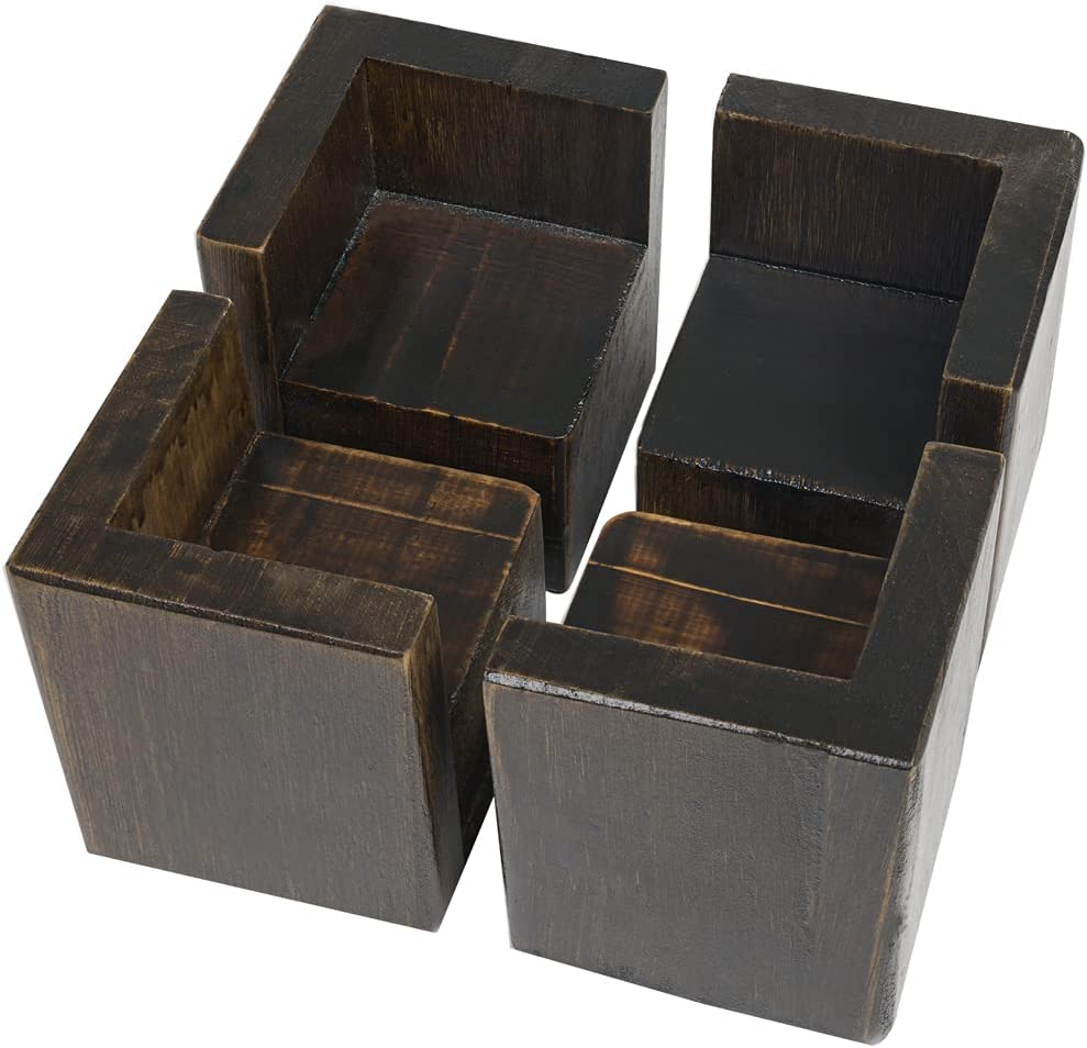 Set of 4 Bed Risers Furniture Square Risers 2 Inches Wooden Heavy Duty Black Walnut Bed Lifts for Sofa Couch Chair Table Legs,Helps You Storage Under The Bed