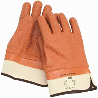 Ansell 204881 Size 10 Orange Winter Monkey Grip Textured Jersey Lined Cold Weather Gloves with Wing Thumb, Safety Cuff, Vinyl Fully Coated, Foam Insulation and Raised Finish (1/EA)