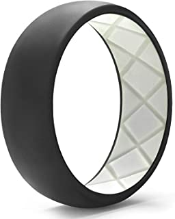 Egnaro Silicone Wedding Ring for Men, Dual-Tone Breathable Mens' Rubber Wedding Bands - One Ring with Two Color