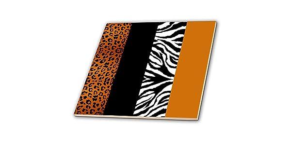 Leopard and Zebra Ceramic Tile 3dRose ct/_35442/_4 Orange Black and White Animal Print 12