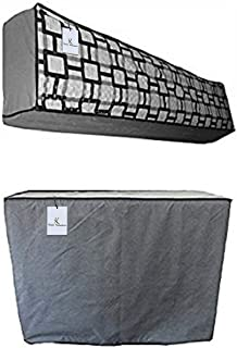 Kuber Industries PVC 2 Piece Indoor and Outdoor AC Cover Set 1.5 Ton - Multicolour